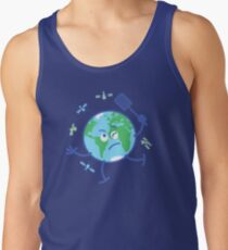 Earth chasing annoying satellites with a fly swatter Tank Top