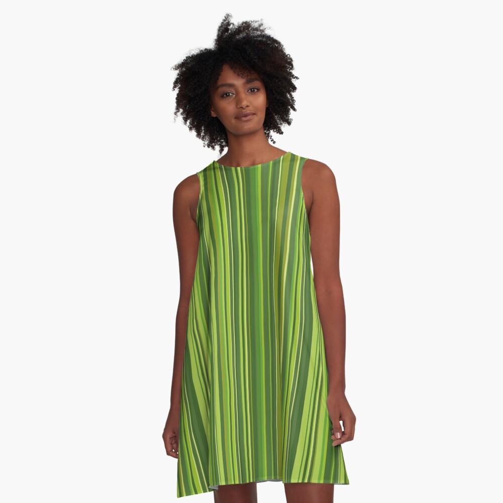 Viele bunte Streifen in Grün A-Linien Kleid