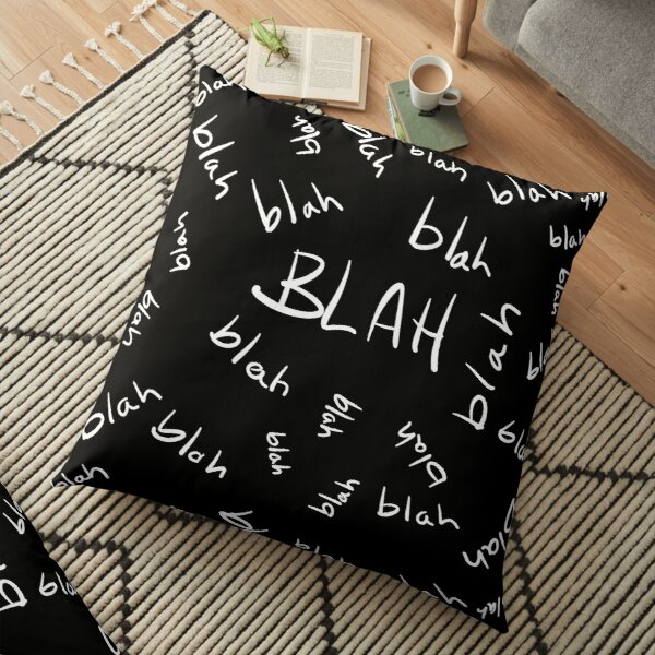 Blah, Blah, Blah Pattern (White Text) Floor Pillow