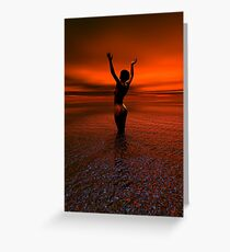 Erotic art hot sex Girl on the beach Greeting Card