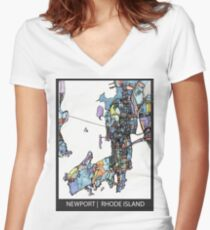 ABSTRACT MAP OF NEWPORT, RI Fitted V-Neck T-Shirt