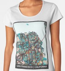 ABSTRACT MAP OF SAN FRANCISCO, CA Premium Scoop T-Shirt