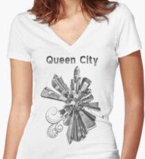 Charlotte, black and white Women's Fitted V-Neck T-Shirt