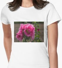 Sunny Vivid Pink Hollyhocks in a Cottage Garden Womens Fitted T-Shirt