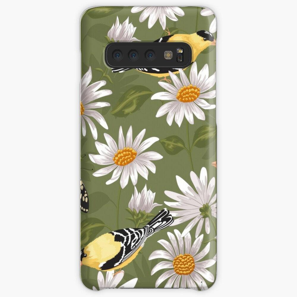 Goldfinches and White Asters Samsung Galaxy Snap Case