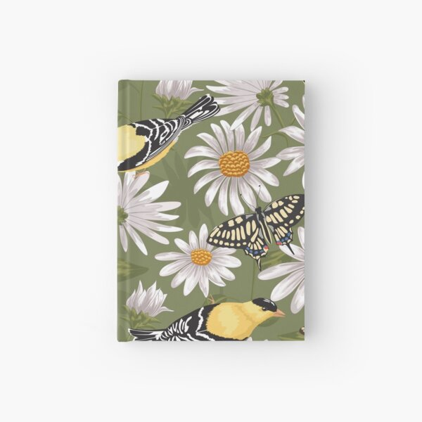 Goldfinches and White Asters Hardcover Journal