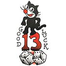 Traditional Lucky 13 Cat Tattoo Design by FOREVER TRUE TATTOO