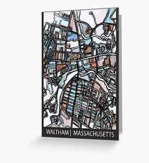 ABSTRACT MAP OF WALTHAM MA Greeting Card