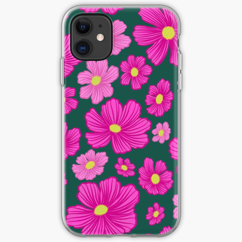 Pink and Fuchsia Cosmos Springtime Floral iPhone Soft Case