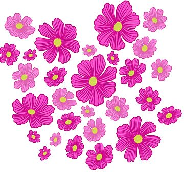 Pink and Fuchsia Cosmos Springtime Floral by carabara