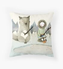 The Little Inuit Girl And The Wolf Throw Pillow