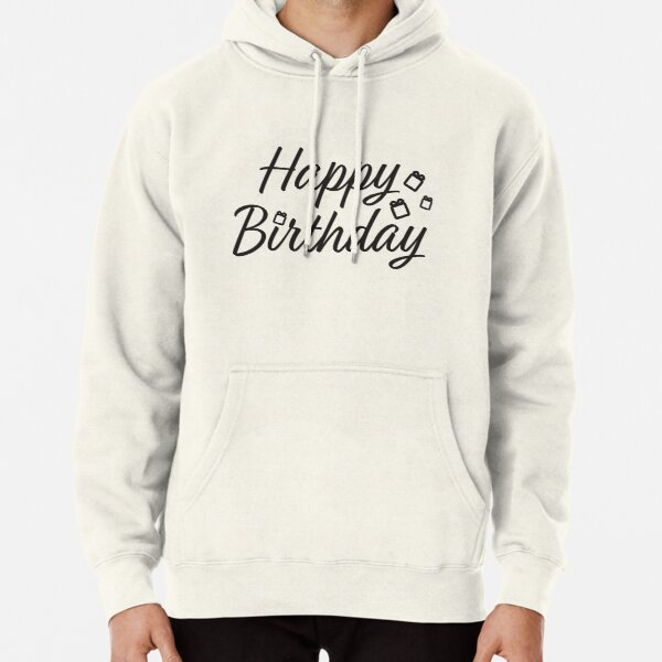 Happy Birthday - Typography Birthday greeting with gift boxes Pullover Hoodie