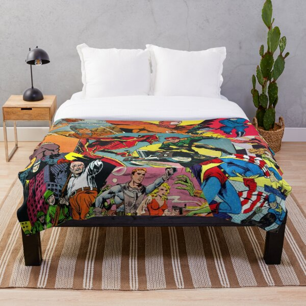 Comic Book Collage Throw Blanket
