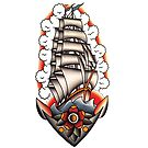 Traditional Ship with Anchor Tattoo Design by FOREVER TRUE TATTOO