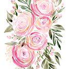 Aquarell Ranunculus in Rosa von blursbyai
