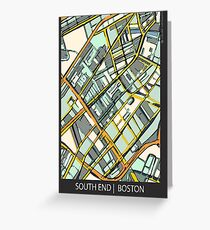 ABSTRACT MAP OF BOSTON SOUTH END Greeting Card