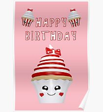 Cupcakes im Kawaii Stil Poster