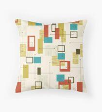 Retro, Mid Century Modern, Atomic,  Abstract Turquoise Orange Olive Green Throw Pillow