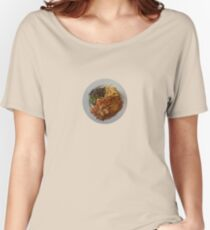 Chicken & pancetta parmagiana crumbed with rosemary & parmesan served with fries Women's Relaxed Fit T-Shirt