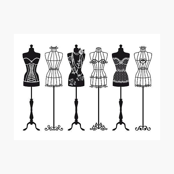 Vintage fashion mannequins silhouettes Photographic Print