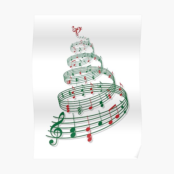 Christmas tree with music notes and heart Poster