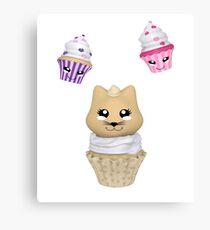 Cupcake mit Kätzchen Leinwanddruck