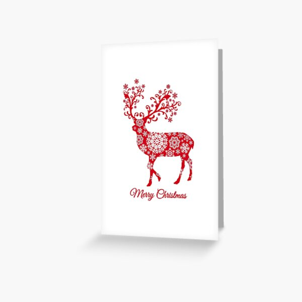 Christmas deer with snowflakes pattern Greeting Card