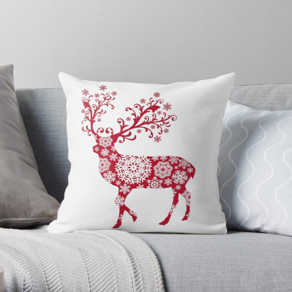 Christmas deer with snowflakes pattern Throw Pillow