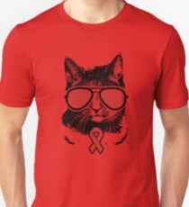 Vintage Cat Red Awareness Ribbon Graphic Unisex T-Shirt