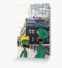 ZEEK from Mars & Nurdy from Venus visit Old Town Portland Greeting Card