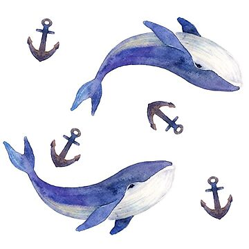 Whales and anchors by VVilka