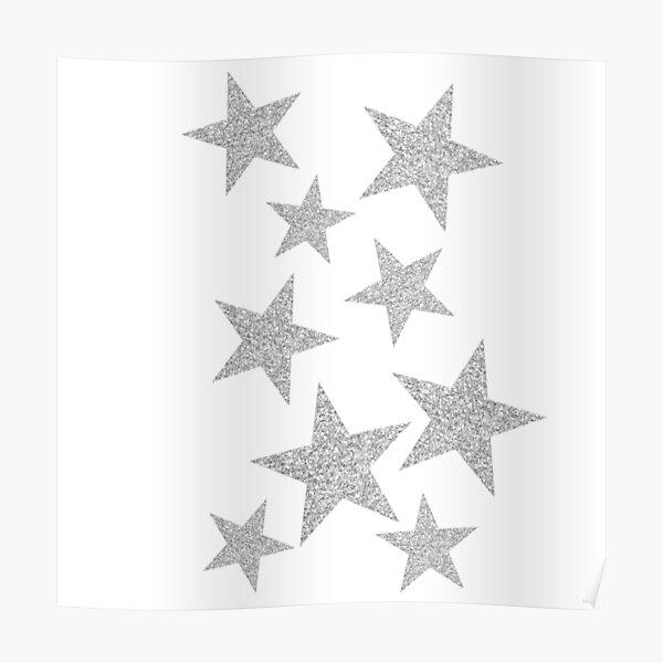 silver glitter stars Poster