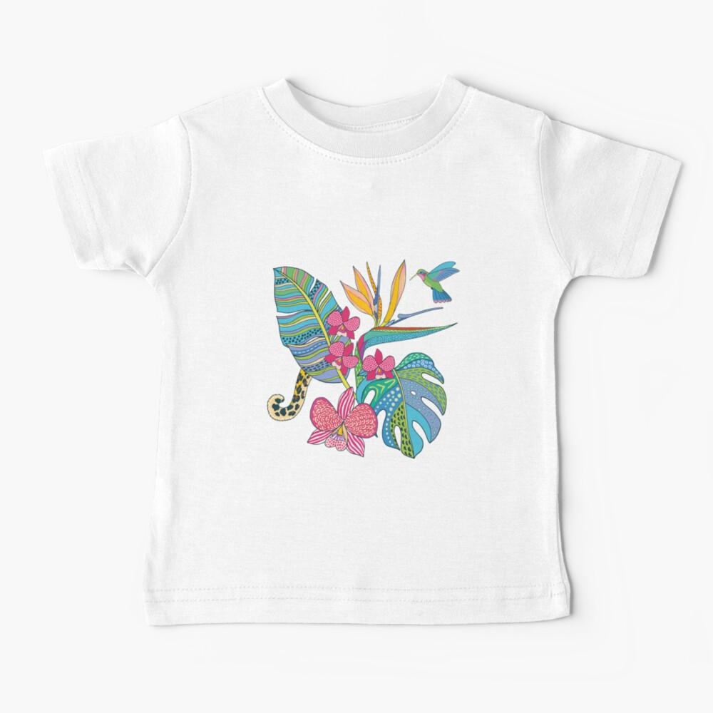 Bohemian Tropical Flowers Baby T-Shirt