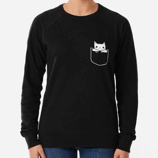 Adorable Kawaii Cat In My Pocket (PRINT) Faux Pocket Shirt Lightweight Sweatshirt