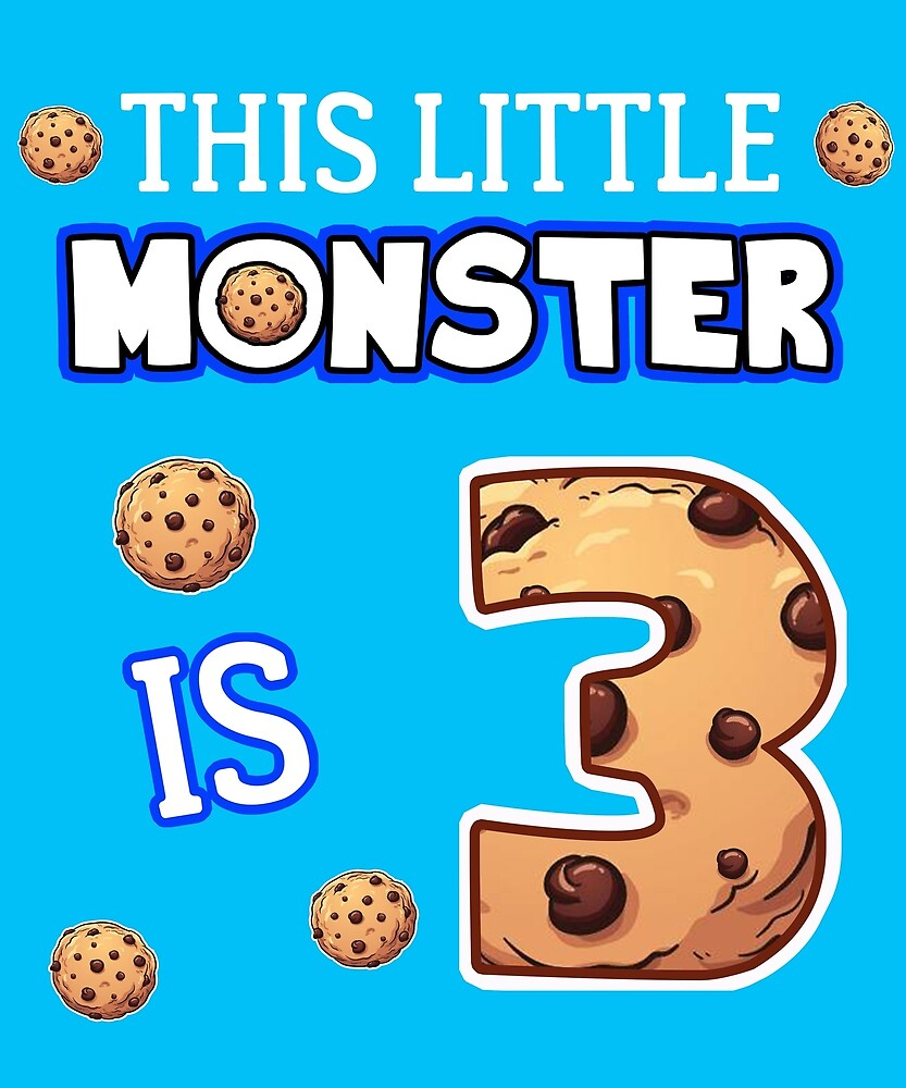 This Little Monster Is 3 3rd Birthday Gift Ideas For Years Old Cookie And Monsters Lover Kids