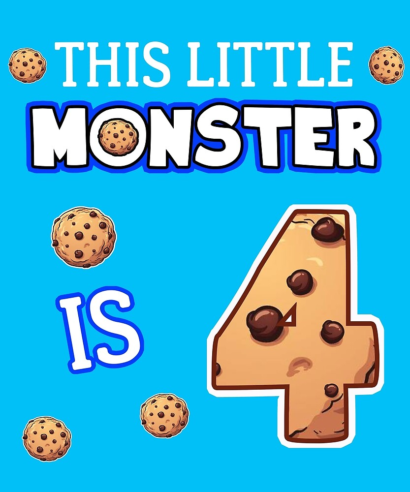This Little Monster Is 4 4th Birthday Gift Ideas For Years Old Cookie And Monsters Lover Kids