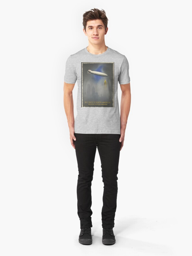 """Alternate view of Zeppelin """"Hindenburg"""" approaching Empire State Building Slim Fit T-Shirt"""