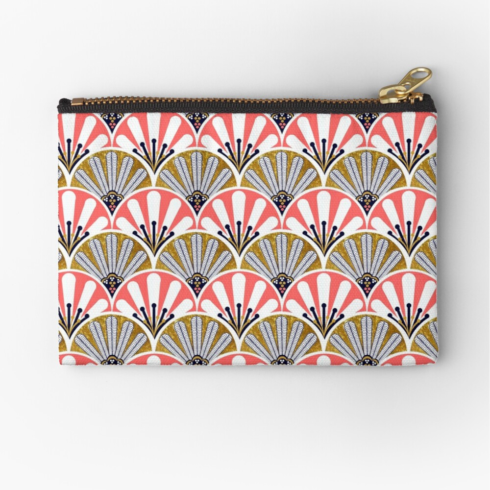 feather plume art deco fans and  big flowers in coral and gold Zipper Pouch