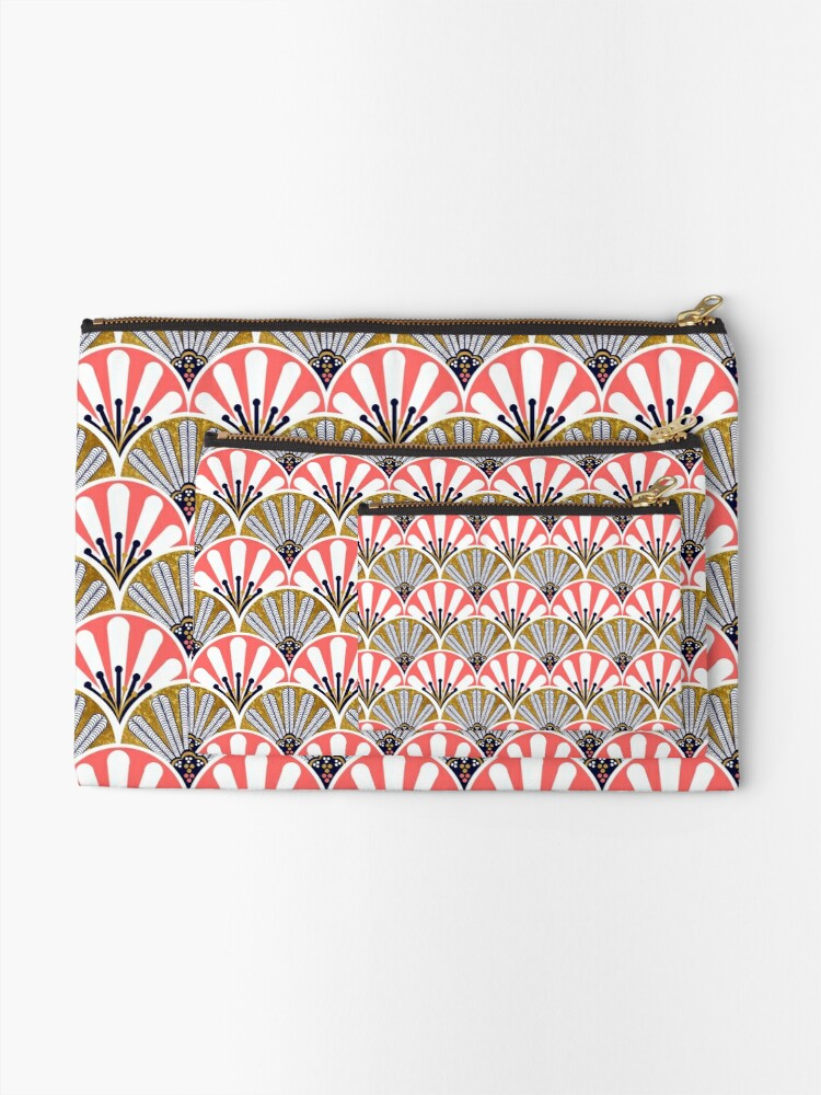 Alternate view of feather plume art deco fans and  big flowers in coral and gold Zipper Pouch