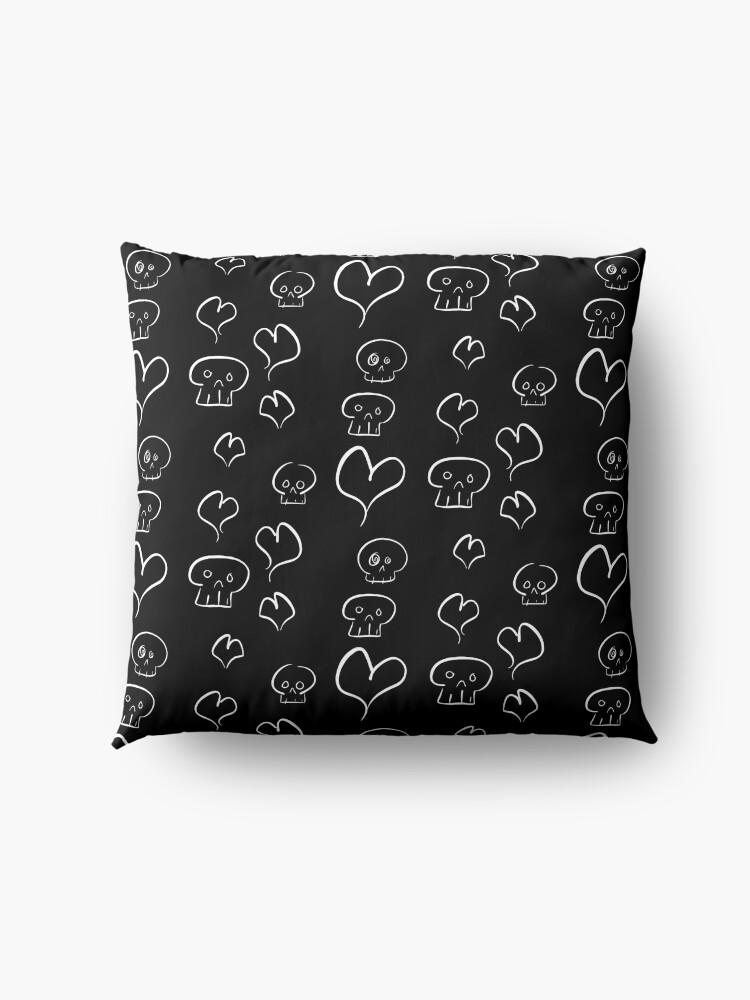 Alternate view of Hearts + Skulls Floor Pillow