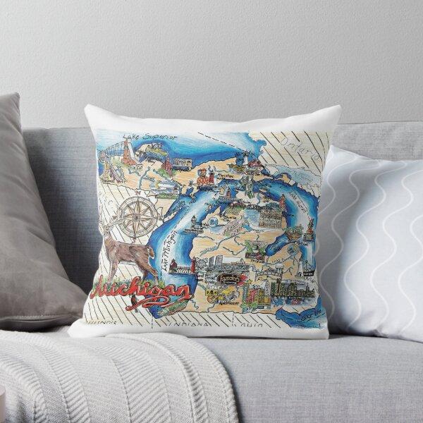 Map of Michigan Throw Pillow