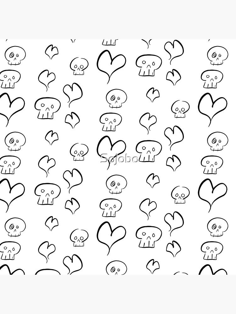 Hearts + Skulls (black on white) by Sojobo