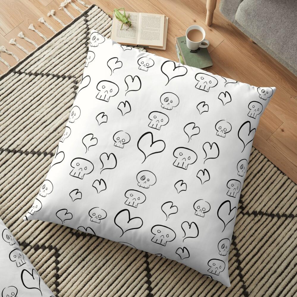 Hearts + Skulls (black on white) Floor Pillow