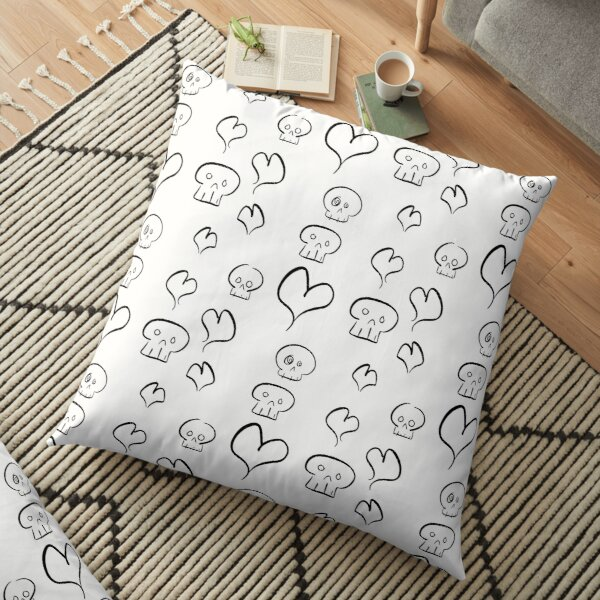 Hearts + Skulls (black on white) Floor Pillow