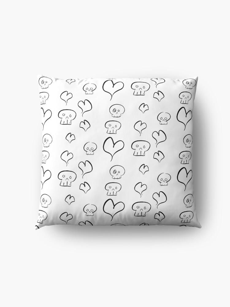 Alternate view of Hearts + Skulls (black on white) Floor Pillow