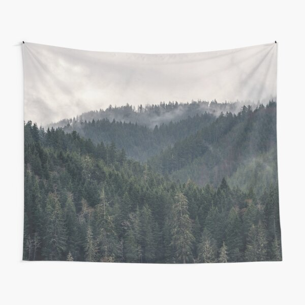 PNW Foggy Forest Mountain Majesty Tapestry