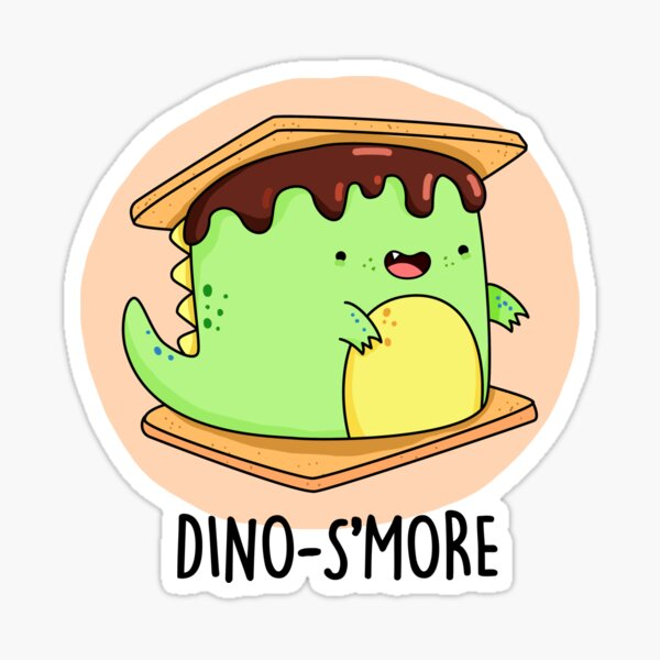 Dino-S'more Food Pun Sticker