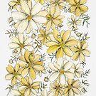 Gold- und Sahneblumenmuster von JRoseDesign