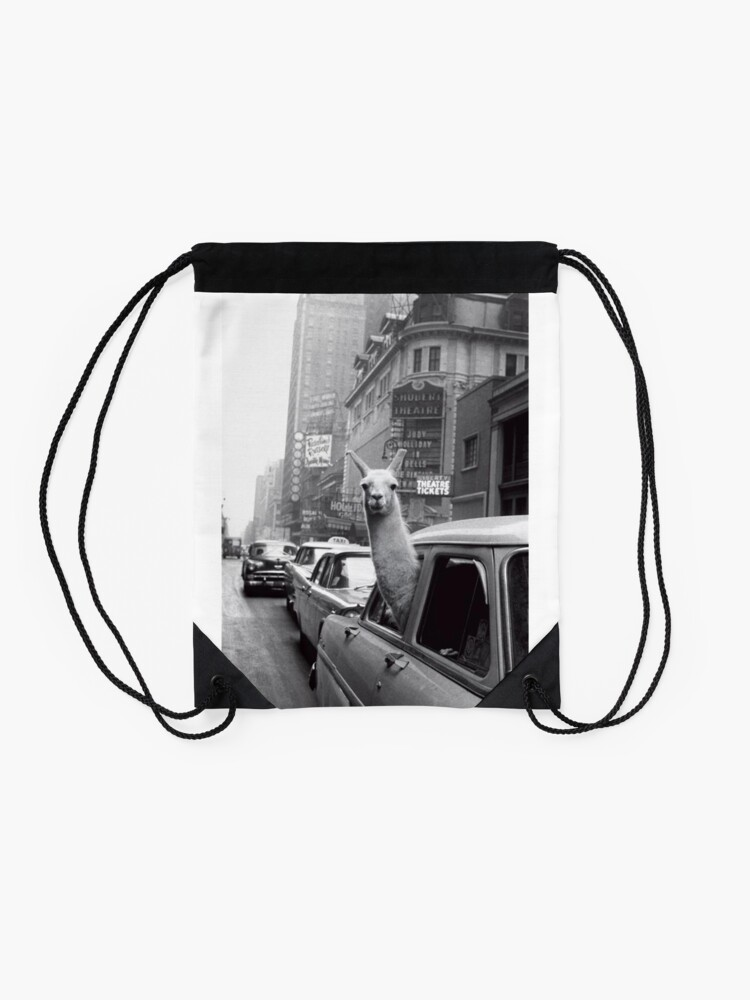 Alternate view of New York Llama Drawstring Bag