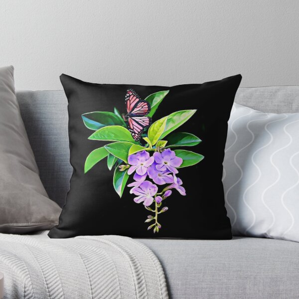 Purple, Flowers, Green Leaves, Colorful, Butterfly, Pattern Design Throw Pillow